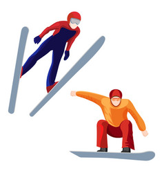 Athlete on skis and professional snowboarder vector