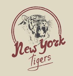 New york tiger retro label vector