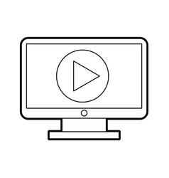 Computer desktop with play button vector