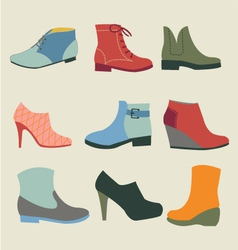 Set of fashion woman footwear vector