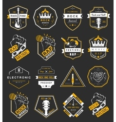 Set of logos and badges music vector