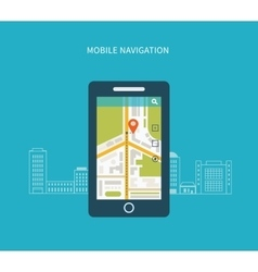 Mobile gps navigation on mobile phone with map vector