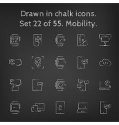 Mobility icon set drawn in chalk vector