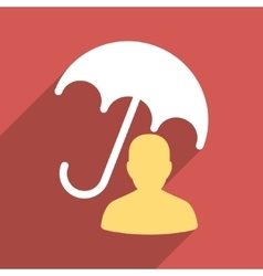 Patient umbrella care flat long shadow square icon vector