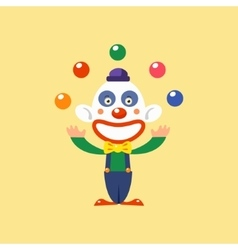 Joyful clown juggling vector