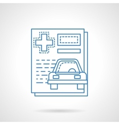 Medical car insurance flat line icon vector
