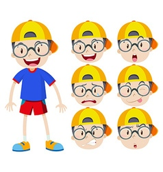 Boy with glasses with many expressions vector
