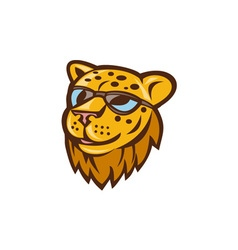 Cheetah head sunglasses smiling cartoon vector