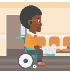 Man with broken leg sitting in wheelchair vector