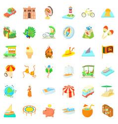 Adventure travel icons set cartoon style vector