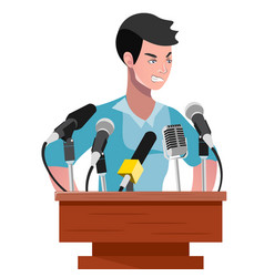 angry politician man speaking from rostrum vector image vector image