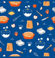Apple pie ingredients pattern on blue background vector