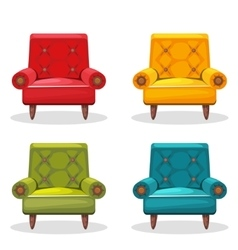 armchair soft colorful homemade set 4 vector image vector image