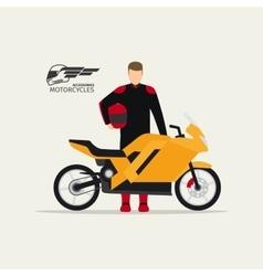 Biker standing with motorcycle vector image