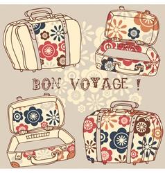 Bon voyage paris vacation vector
