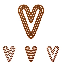 Brown line v logo design set vector image