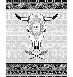 Card with crossed ethnic arrows and bull skull on vector