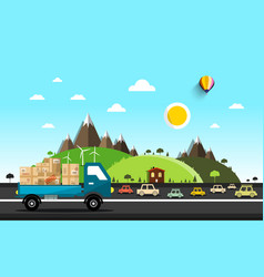 Cars on the road natural landscape vector