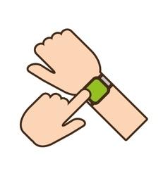Cartoon hand touchscreen smart watch wearable vector