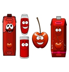 Cartoon red sweet cherry juice and fruit vector image