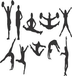 Cheerleader and Gymnastics Silhouettes vector image
