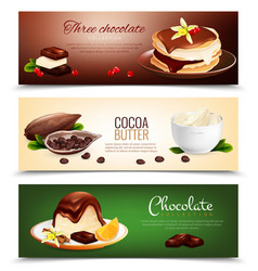 chocolate products horizontal banners vector image vector image