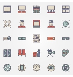 Cinema colorful icons vector
