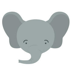 Colorful caricature cute face of male elephant vector