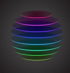 Colourful sliced sphere on dark background vector image