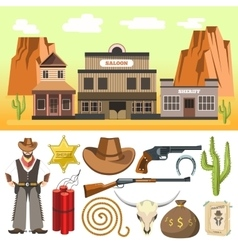 Cowboy icons set and wild west scene with vector image