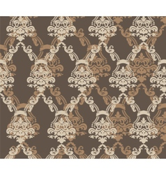 Damask ornament pattern beige color vector