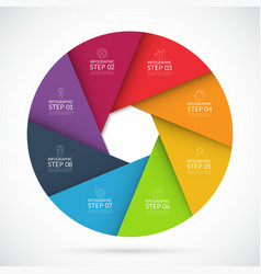 Eight steps infographic circle template vector