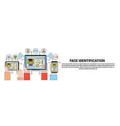 Face recognition and identification system gadgets vector