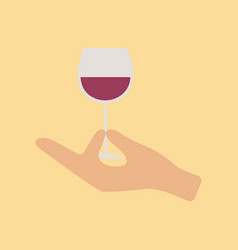 flat icon on stylish background glass of wine vector image
