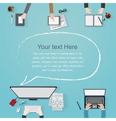 Flat workplace of designer with devices vector
