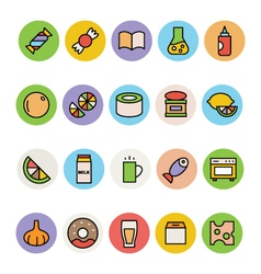 Food colored icons 13 vector