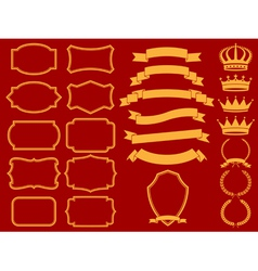 frame set with laurelsribbons and crowns vector image vector image