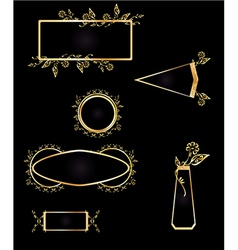 Gold and black frame element set vector image