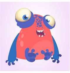 Goofy red monster with blue hands cartoon vector