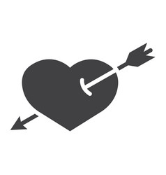 heart pierced with arrow glyph icon valentine vector image