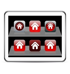 Home red app icons vector image
