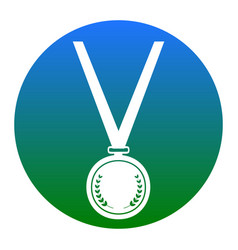 medal simple sign white icon in bluish vector image