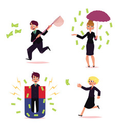 office people chasing for money set vector image vector image