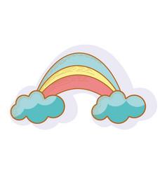 Rainbow with cloud cartoon icon vector