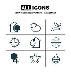 set of 9 eco-friendly icons includes clear vector image