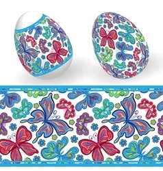 Set of isolated easter eggs and seamless geometric vector
