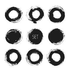 Set of round grunge frames hand drawn design vector