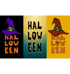 Three Happy Halloween vertical bahhers witch hat vector image