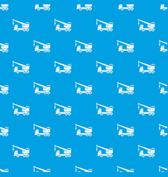 Truck crane pattern seamless blue vector