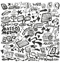 web mass media - doodles set vector image vector image